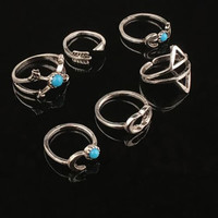 Vintage Ethnic Bohemian BOHO Ring Geometric Turquoise Moon Arrow Punk Joint Ring Women Jewelry 6PCS SM6