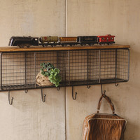 Wire Mesh Four Horizontal Cubbies with Wooden Top - Raw