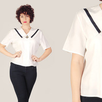 80s White Nautical Short Sleeve Blouse / Sailor Collar Cotton Shirt / Embroidered Anchor Pin Up Retro Medium M Blouse