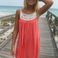 Saltwater And Clear Skies Cream Woven Straps Caged Coral Dress
