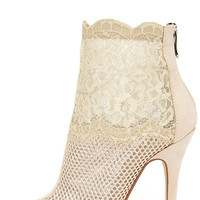 Chinese Laundry Jeopardy Nude Mesh and Lace Booties