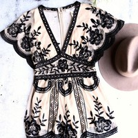 honey punch - v neck short sleeve embroidered lace romper - nude/black