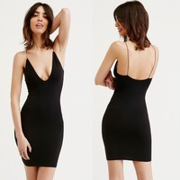 Fashion Bodycon Deep V-Neck Backless Sleeveless Strap Solid Color Mini Dress