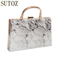 Vintage Marble Stone Pattern Women's Handbags Acrylic Chain Evening Bags for Lady Luxury Design Pouch Messenger Party Bag BA428