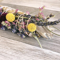 Large White Sage & Wildflower Smudge Stick Natural Incense