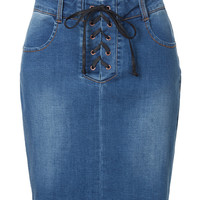 LE3NO Womens Fitted Lace Up Distressed Denim Mini Skirt with Stretch (CLEARANCE)