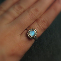 Rainbow Moonstone Gemstone Statement Ring in Sterling Silver and Bronze - Blue Moonstone Cocktail Ring - June Birthstone - Size 6.5