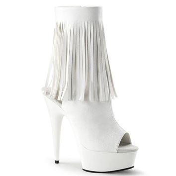 Open Toe/ Back Ankle Boot with Fringe