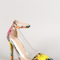 Women's Liliana Floral Lucite Ankle Strap Pointy Toe Pump