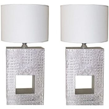 Silver Croc 28-inch Table Lamps (Set of 2) | Overstock.com Shopping - The Best Deals on Desk Lamps