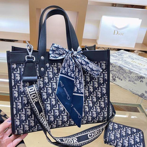Image of Dior new women's jacquard embroidery shopping bag shoulder bag two-piece suit