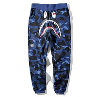 BAPE AAPE Popular Women Men Casual Camouflage Running Sport Pants Trousers Sweatpants Blue