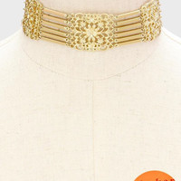 """14"""" gold collar floral choker 1.25"""" wide necklace"""