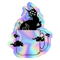 Black Cat In Coffee Cup, Holographic Sticker