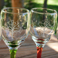 Hand Sand Etched Tree Colored Wine Glass Set of 6, 10oz