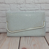 Vintage White Metal Mesh Purse Bueno Retro Glam Style
