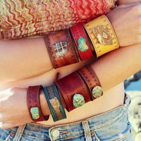 HOLIDAY SALE LUX Divine Recycled Leather Boulder Opal Gemstone Cuff Festival Jewelry Gypsy Bohemian Goddess Woman Stacked Layered Chunky Br