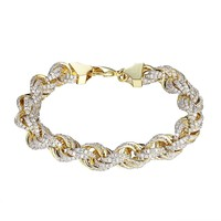 "Sterling Silver Rope Link Bracelet 11mm Chain 9"" Bling Hip Hop Simulated Diamonds Gold Tone"