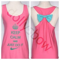 Keep calm and Just do it Premium Tank Pink color with Mint Bow : Dolly Bow Handmade Premium Tank with Bow styles