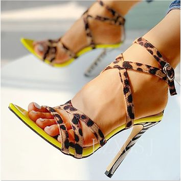 Fashion Lace up sandals women high heel shoes sexy shoes Pink soles+leopard lace up