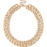 River Island Womens Gold tone double curb chain necklace