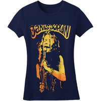 Janis Joplin  Microphone Girls Jr Soft tee Blue