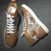 Cl Christian Louboutin Lou Spikes Style #2211 Sneakers Fashion Shoes - Sale