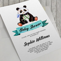 Printable Baby Shower Invitation, Panda Baby Shower Invitation, 5x7 In, Watercolor Panda, Aqua Watercolor, Bamboo, Panda and Bamboo,Baby Boy
