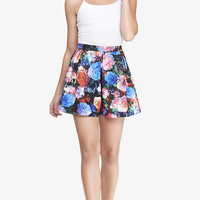 PAINTED FLORAL SCUBA FULL SKIRT - MULTICOLOR from EXPRESS
