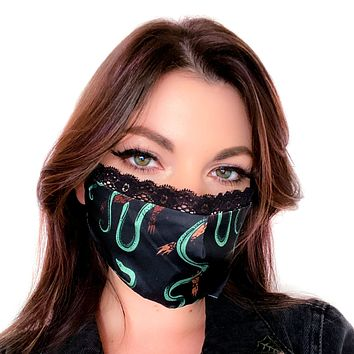 Snake Silky Face Mask with Lace Trim