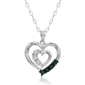 Diamond Heart Pendant Necklace in Sterling Silver with Blue and White Diamonds