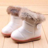Winter Fashion child girls snow boots shoes warm plush soft bottom baby girls boots comfy kids leather winter snow boot for baby