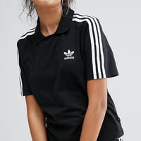Adidas Fashion Black Three Stripe Polo Neck T-Shirt