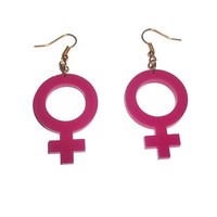 Female Gender Symbol Earrings ,Hot Pink Dangle Earrings, Venus Sign Riot Girl
