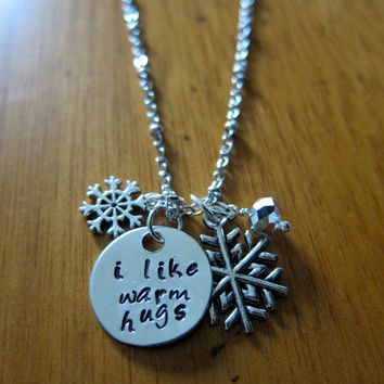 """Disney's """"Frozen"""" Inspired Elsa's friend Olaf """"I Like Warm Hugs"""" Necklace, Charm Pendant. Silver colored, snowflake, for women or girls."""