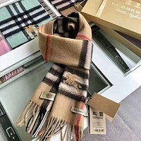 BURBERRY Fashion Women Men Classic Embroidery Cashmere Cape Tassel Scarf Scarves Shawl Accessories