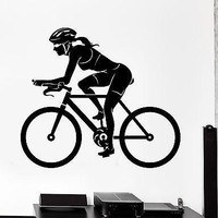 Wall Sticker Sport Bike Bicycle Woman Female Cyclist Vinyl Decal Unique Gift (z3004)