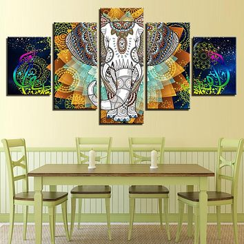 5 Piece HD Elephant And Abstract Color Flower Print on Canvas - 8 Size Options