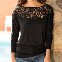 Women'S Long Sleeves Round Neck Lace Shirt