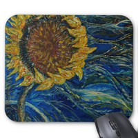 Sunflower Blown Blue Art Mousepad