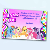 My Little Pony MLP Girl Thank You Card the beautiful personalized birthday invitation card as a digital file