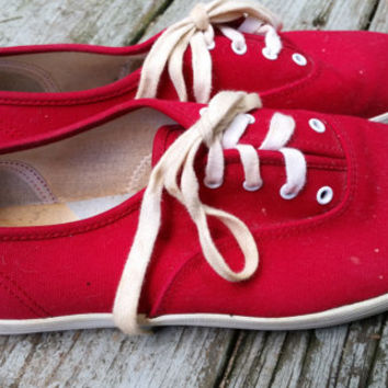Vintage 80s Red Canvas Keds sneakers tennis shoes size 9