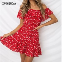 Summer Dress Sexy Off Shoulder Floral Beach Dress Women Spaghetti Strap Boho Red Mini Dress Casual Ladies Elasticity Dresses