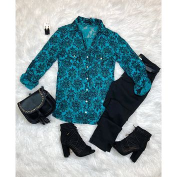Damask Lace Top