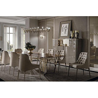 Royal Designed Marble Top Dining Table with Button Tufted Chairs