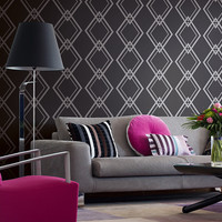 Harlequin Wallpaper in Metallic and Black design by Seabrook Wallcoverings