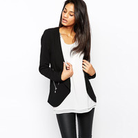 Black Long Sleeve Vest with Zipper