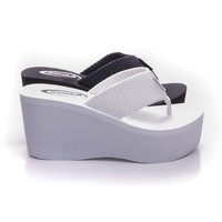 Oxley Thick T-Thong Slip On Platform High Wedge Sandals