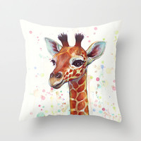 Baby Giraffe Watercolor Painting, Cute Animals Throw Pillow by Olechka | Society6