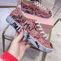 miumiu  Sequins Fashion and Leisure shoes